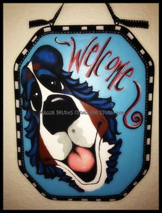 Whimsical dog Wood welcome sign plaque ART all by tangerinestudio, $95.00