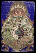 """""""At the bottom is the Hell Realm with a central blue figure, wrathful, holding a stick in the right hand and a mirror in the left. This is Yama Dharmaraja, the Lord of the Dead... holds a mirror to reflect those actions (and consequences) performed by each individual that comes before him. In each realm the various beings are portrayed engaged in their respective activities along with the occasional buddha or bodhisattva."""" http://www.himalayanart.org/search/set.cfm?setID=218"""