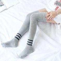 [leggycozy] Japanese Preppy Three-Striped Over Knee Anti-Slide Cotton Preppy, Stockings, Japanese, Cotton, Socks, Japanese Language, Pantyhose Legs, Preppy Style, Hosiery