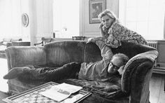 Lady Caroline Blackwood and Robert Lowell at home, their daughter is: ivana Lowell