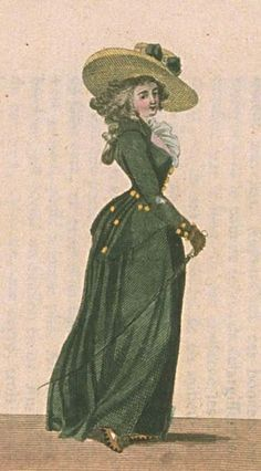 """Green riding habit, French, ""Magasin des Modes"", November 1786. Magasin des Modes, November 1786."""
