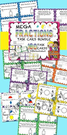 Fractions Task Card Mega Bundle includes all of my 4 best selling fraction task card resources!! Using these task cards provides an excellent way for students to think deeply and critically while continuing to extend their mathematical reasoning and fractional understanding.