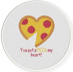 FREE You Got A Pizza My Heart Cross Stitch Pattern