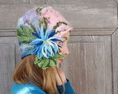 Hand felted cloche hat, retro style hat with blue flower and green leaves. OOAK