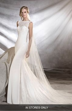 2fd88f471b Main Image - Pronovias Oreste Crepe   Lace Mermaid Gown (In Stores Only)  Wedding