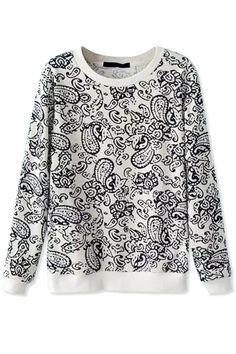 #Classic Paisley Print White #Sweatshirt - OASAP.com ★ 25% off code: turkeys From Nov.8th to 10th.