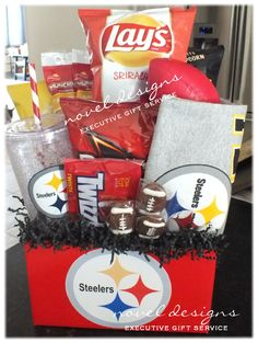 Custom Steelers Fan Gift Basket w/Chips, Popcorn, Nuts, Snacks, Candy, Mini Football, Insulated Cup  #noveldesigns