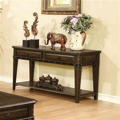 Dull Black Wood Sofa Table w/Below Drawers