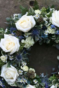 Cream avalanche and blue thistles - an elegant tribute for a Scottish gentleman Dad Funeral Flowers, Funeral Bouquet, Casket Flowers, Grave Flowers, Funeral Floral Arrangements, Flower Arrangements, Scottish Flowers, Funeral Sprays, Funeral Tributes