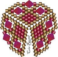 peyote triangle with bicone insets - Cristina Rugar Schemes Triangle 3d, Triangle Pattern, Peyote Stitch Patterns, Seed Bead Patterns, Beading Patterns, Beaded Beads, Beads And Wire, Beaded Jewelry Designs, Beaded Jewelry