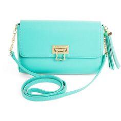 BCBGMAXAZRIA Bree Medium Bon Bon Clutch ($77) ❤ liked on Polyvore featuring bags, handbags, clutches, purses, accessories, bolsas, blue surf, blue purse, flap handbags and bcbgmaxazria handbags
