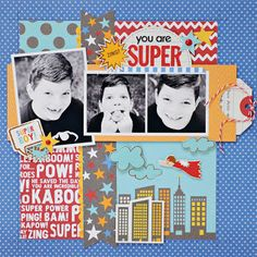 A nice boy LO! A Pebbles layout by Lynn Ghahary : Pieces of Me