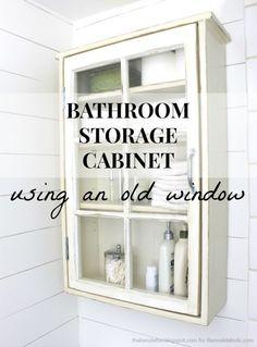 DIY Farmhouse Cabinet Storage using an old Window !