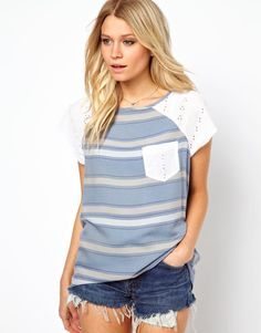 ASOS | ASOS T-Shirt in Stripe Chambray and Broderie at ASOS