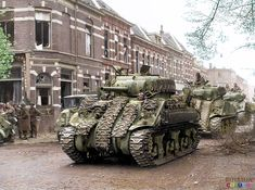 Shermans tanks of the Canadian, Governor General's Horse Guards Armoured Regiment during the Liberation of Arnhem 15th April 1945.