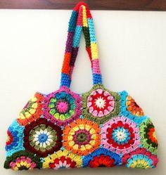 scrap hexagon granny bag...Color BURST