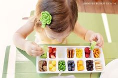 Toddlers do not eat much. Try using an ice tray to satisfy their bird-like appetites and for a fun, unique presentation. Be sure to throw in plenty of healthy choices like berries, peas, corn, cheese, cucumber, etc. Photo via Jennifer Bishop Design
