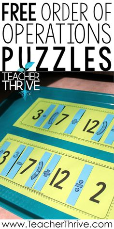 These free puzzles go beyond teaching the rules for Order of Operations. Students must apply and understand PEMDAS when solving them. Free Teaching Resources, Teaching Math, Teaching Tips, 8th Grade Math, Sixth Grade, Third Grade, Fourth Grade, Teaching Critical Thinking, Math Notes