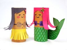 Hula Girl and Mermaid Craft for Kids - Roundup of recycled crafts - Savvy Sassy Moms