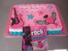 Rock Star Birthday Cake - We are loving the buttercream transfers.  We used a party napkin to create this Rock Star birthday cake for a seven year old little girl.  Vanilla cake with vanilla buttercream. We were unable to use the 'Rock Star' as it would have been backward :)  there's always something new to learn with cake decorating...