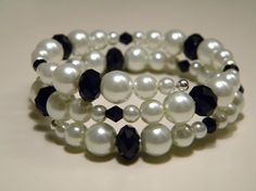 White pearl and black swarovski crystal memory by loumietjewelry, $7.00