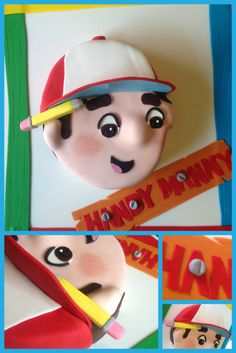 2D Handy Manny cake & decorated cake board! Learn how to make him for yourself here: https://www.youtube.com/watch?v=JHHlcXchIis