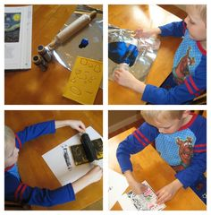 Starry Night Printable Book & Art (Van Gogh Study) using foam and a rolling pin for a brayer