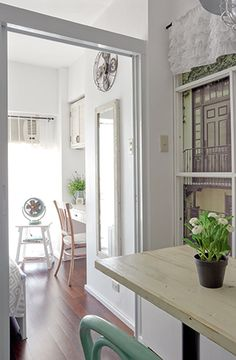 Filled with DIY details and customized pieces, this quaint one-bedroom condo brings labor of love to a whole new level Condo Interior Design, Condo Design, Apartment Design, Small Condo Living, Condo Living Room, Small Condo Decorating, Studio Condo, Condo Bedroom, French Country