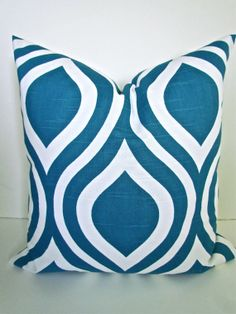 DECORATIVE THROW Pillows 18x18 TURQUOISE Throw Pillow Covers 18 x 18 Teal Blue pillows Geometric home and living