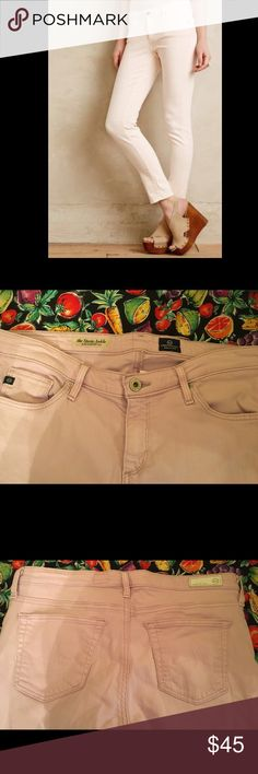 Anthropologie AG Jeans Pink Sz 28R Skinny AG Jeans The Stevie Ankle Pale Pink Size 28R AG Adriano Goldschmied Jeans Skinny