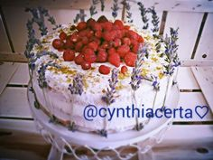 Cake with whipped cream, strawberries and lavender......@cynthiacerta