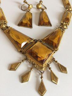 Vintage 1920s Art Deco Czech Golden Topaz Citrine by PinVintage