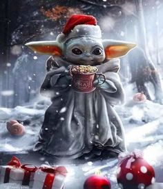 Christmas Baby Yoda is the character of Star Wars. Star Wars Fan Art, Star Wars Meme, Yoda Pictures, Yoda Images, Funny Images, Funny Pictures, Merry Christmas Baby, Star Wars Christmas, Xmas