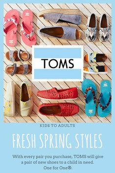 Did you know that Toms will give a pair of new shoes to a child in need with every pair you purchase?  How cool is that?! Awesome shoes! #shoes #toms #affiliate