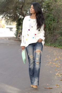 Great jeans and fun sweater