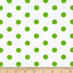 Spot On II Polka Dots White/Green from @fabricdotcom  This cotton print fabric is perfect for quilting, apparel and home décor accents. Colors include white and chartreuse.