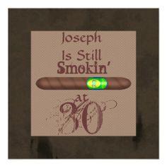Men's 30th Birthday Cigar Invitations