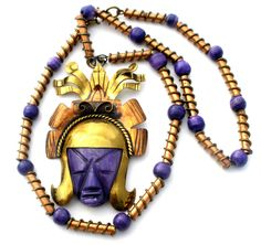 Hand-Wrought-Mexican-Brass-Copper-Mask-Necklace-purple-agate-art-glass-beads-vintage-the-jewelry-lady's-store