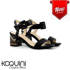 Sandália couro preto em salto bloco trabalhado em cores, mega confortável #koquini #comfortshoes #euquero Compre Online: http://koqu.in/2bAqGF6