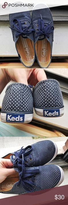 👟KEDS Champion Polka Dot Sneaker 👟 Authentic Keds Champion Blue polka dot sneakers. I've only worn these a handful of times, and they show a few signs of discoloration and a small rip on the inside, but are otherwise in good condition. You'll feel like T Swift when you put these on. Keds Shoes Sneakers