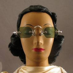 "Vintage Miniature 2.5"" Green Tinted Eyeglasses for Doll"