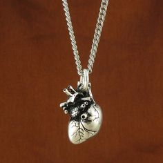 Gothic Heart Necklace Antique Silver Anatomical by LostApostle, $60.00