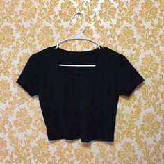 American Apparel Short-Sleeved Crop Top Slightly worn, black, short sleeved crop top from American Apparel. American Apparel Tops Crop Tops