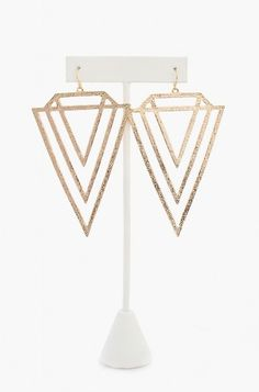 LoveMelrose.com From Harry & Molly | Diamond Shaped Earrings - Gold