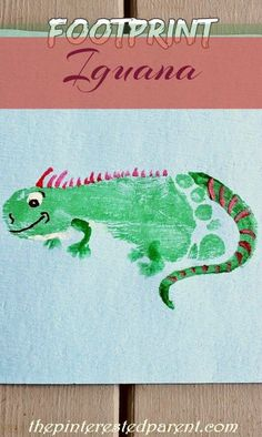 Footprint Iguana Craft - Footprint animals from A-Z I is for Iguana