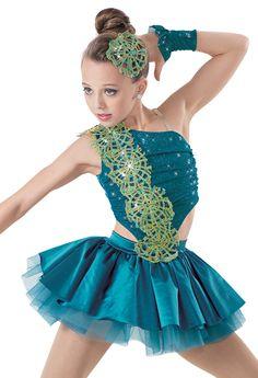 Weissman | Lace Applique Trim Top & Satin Skirt