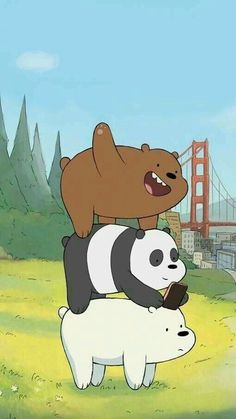 Image about panda in We bare bears 🐻🐼✨ by G o l d_R a i n* ヽ(・∀・)ノ Cute Disney Wallpaper, Cute Cartoon Wallpapers, Kawaii Wallpaper, Bear Wallpaper, Wallpaper Backgrounds, Iphone Wallpaper, Ice Bear We Bare Bears, We Bear, We Bare Bears Wallpapers
