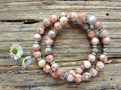 Natural Rhodonite Jasper Gemstone Bracelet Set, Unique Gift, Birthday, Christmas by TJBsimplebeauty on Etsy