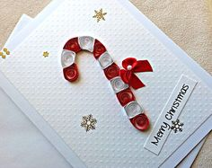 handmade paper quilled  Christmas card – Merry Christmas candy cane