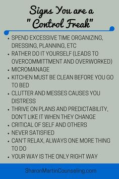 Signs You Are a Control Freak #perfectionist #control #typeA